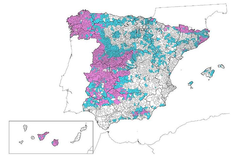 Mapa de municipios clasificados por niveles de potencial de radón en España